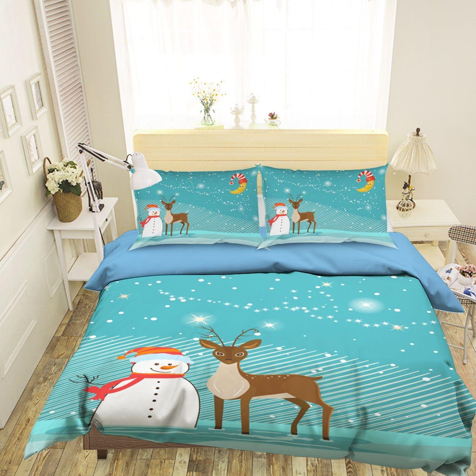 3D Christmas Xmas Sky 77 Bed Pillowcases Quilt Duvet Cover Set Single Queen AU