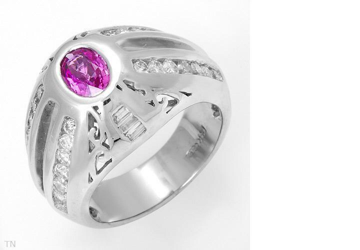 CERTIFIED 1.85ctw Pink Sapphire 14K WG Ring w FREE CR Pink Sapphire Pendant