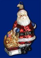 Santa With Toy Sled Old World Christmas Glass Kid's Santa Claus Ornament 40233