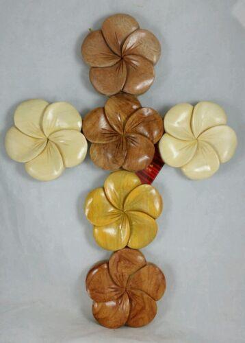 L Hawaiian Plumeria Flower Cross God Hawaii Handcrafted Wood Art Wall Hanging
