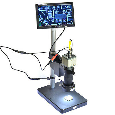 "NEW 800TVL 100X Microscope Industrial Camera Zoom Lens BNC Output 7"" LCD Monitor"