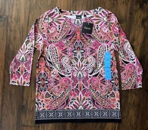 4c52f82815c Details about Rafaella Women's Paisley Print Tunic Top Blue or Pink NEW NWT  $58.00