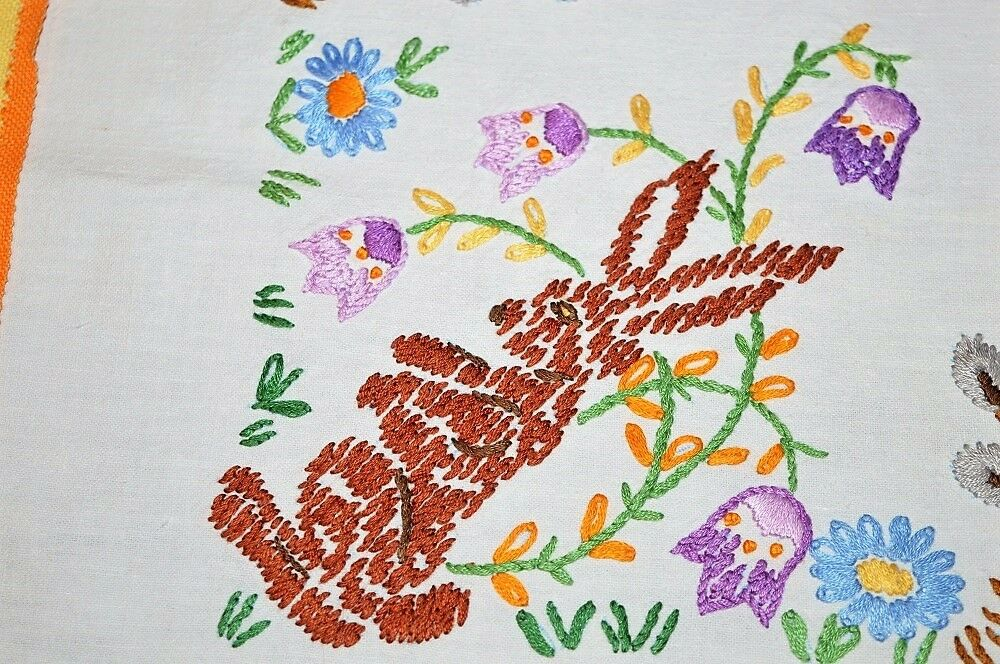 EASTER BUNNY HIDES IN SPRING GARDEN  VINTAGE HAND EMBROIDErouge GERMAN TABLECLOTH