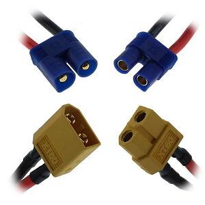 XT60-XT90-EC2-EC3-EC5-RC-Connectors-on-Silicone-Leads-Wire-Cable-UK-Seller