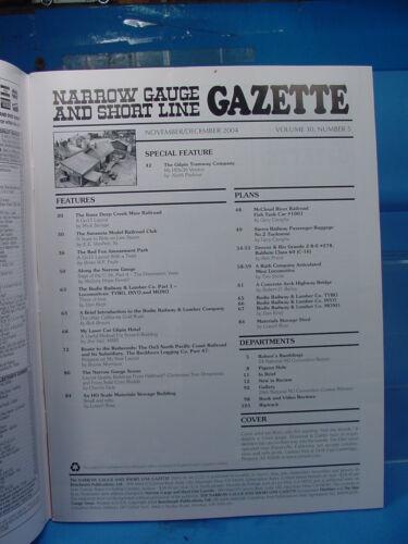 On3,On30,SN3,HOn3 NARROW GAUGE AND SHORT LINE GAZETTE MAGAZINE NOV//DEC 2004