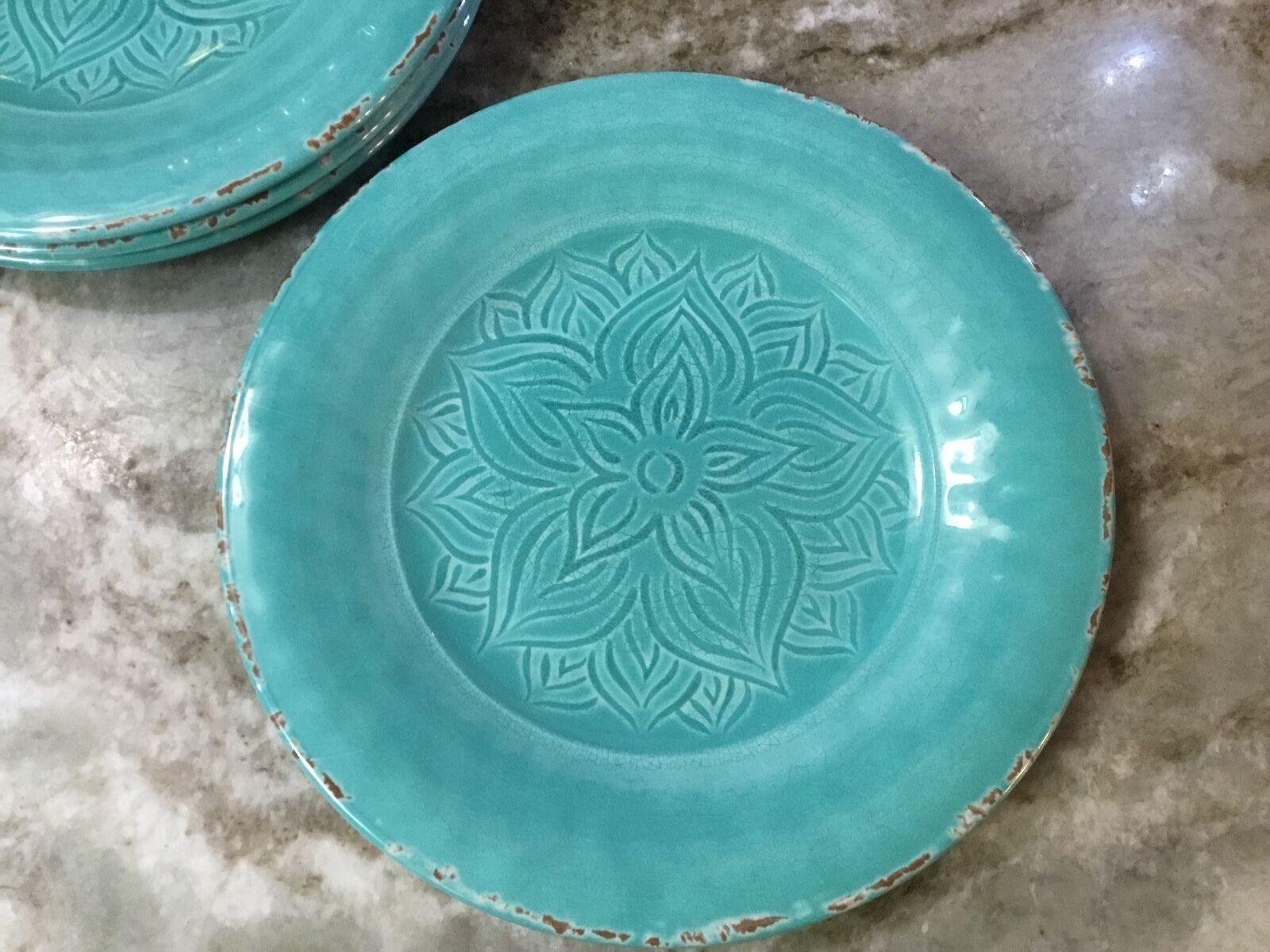 Rustic Medallion Teal Salad Plates. Melamine. Set Of 4. New.