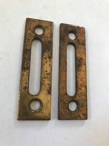 2-BRASS-PLATED-STEEL-ARTS-CRAFT-VICTORIAN-CASEMENT-WINDOW-DOOR-LATCH-LOCK-CATCH