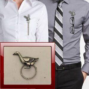 Goose-R162-Pewter-Pin-Brooch-Drop-Hoop-Holder-For-Glasses-Pen-Jewellery