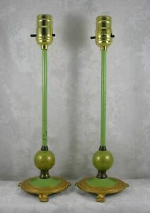 Pair-vintage-gold-amp-green-claw-footed-cast-metal-base-ball-amp-stick-table-lamps