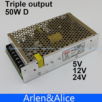 T 50W D Triple output 5V 12V 24V Switching power supply smps AC to DC   eBay