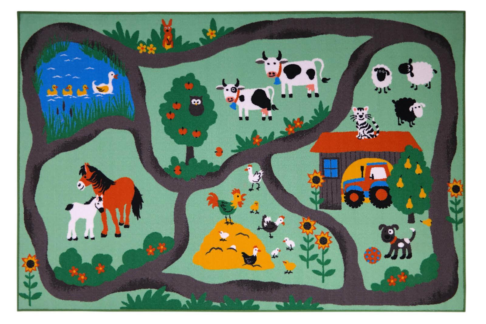 Spielteppich Bauernhof Farm Straßenteppich Kinderteppich Kinderzimmer Tiere
