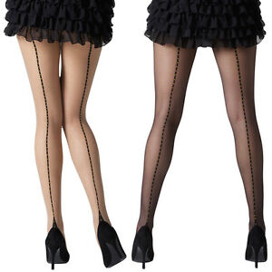 Gipsy-Women-039-s-Dotty-Seam-and-Heel-Tights-Black-or-Natural-1337-One-size