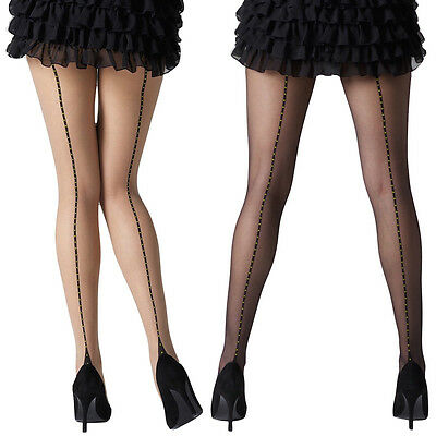 Black Or Natural 1337 One Size Objective Gipsy Women's Dotty Seam And Heel Tights