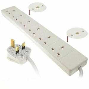 kenable 6 Gang Way Mains Extension Sockets UK 13A with 0.5m 50cm Cable White