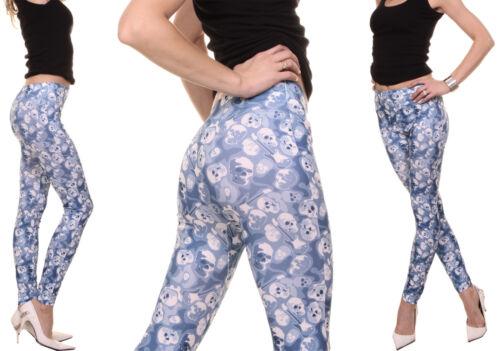 Femmes Slim Leggings Jeans Look Stretch Sculls Motif Jeggings Skinny High Waist