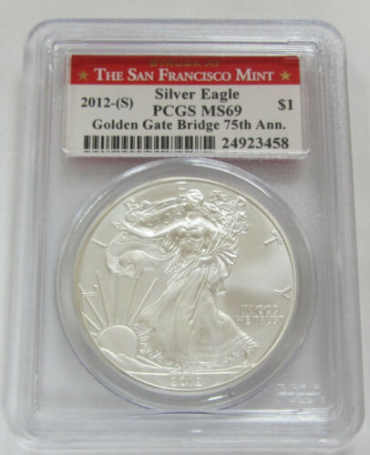 2012-S Silver Eagle PCGS MS69 *Golden Gate Bridge 75th Anniversary Red Label