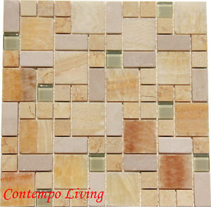 Details About Honey Onyx Marble Mosaic Tile Mixed W Crystal Glass 8mm  Thickness
