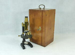 Rare microscope in original wooden box carl zeiss jena number 80161
