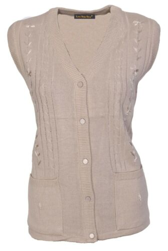 Womens Sleeveless Knitted Cardigan Ladies Cable Knit Waistcoat V Neck Size 12-18
