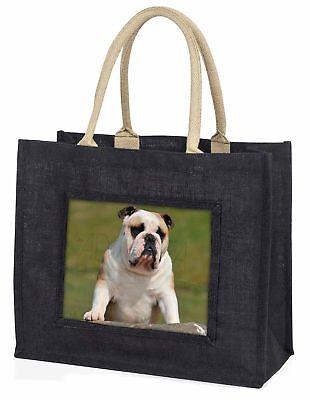 Ein hübscher Bulldogge Hund große schwarze Einkaufstasche