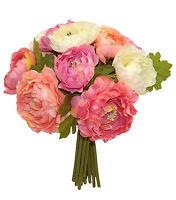 Coral Pink Cream Ranunculus Bouquet Bridal Silk Wedding Flowers Centerpieces