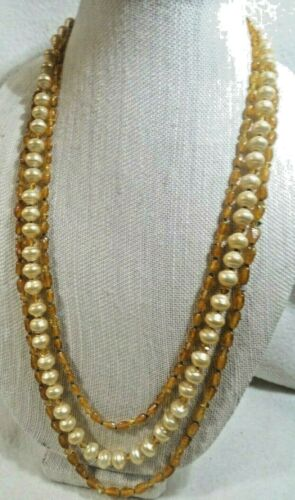 MIRIAM HASKELL Baroque Pearl NECKLACE 4 Strands 28 3 Double Link Russian Gold tone chains Faux pearl-encrusted Signed Round Box Clasp