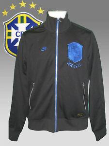 Neu-Nike-Fussball-Brasilien-Transit-Jacke-Schwarz-Mit-Blauer-Rand-M