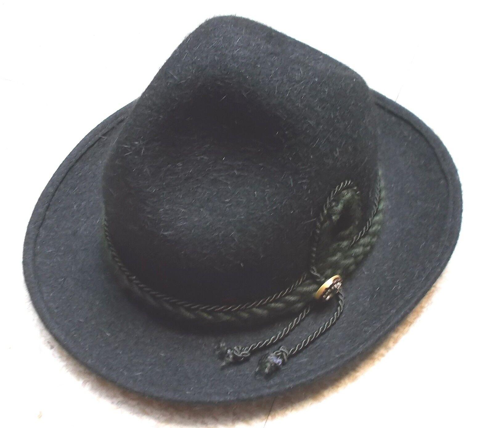 Trachtenhut schwarz 1-Zierknopf mit Kordel Haarfilz Herren Herren Herren Gr. 55 | Feine Verarbeitung  c0e357