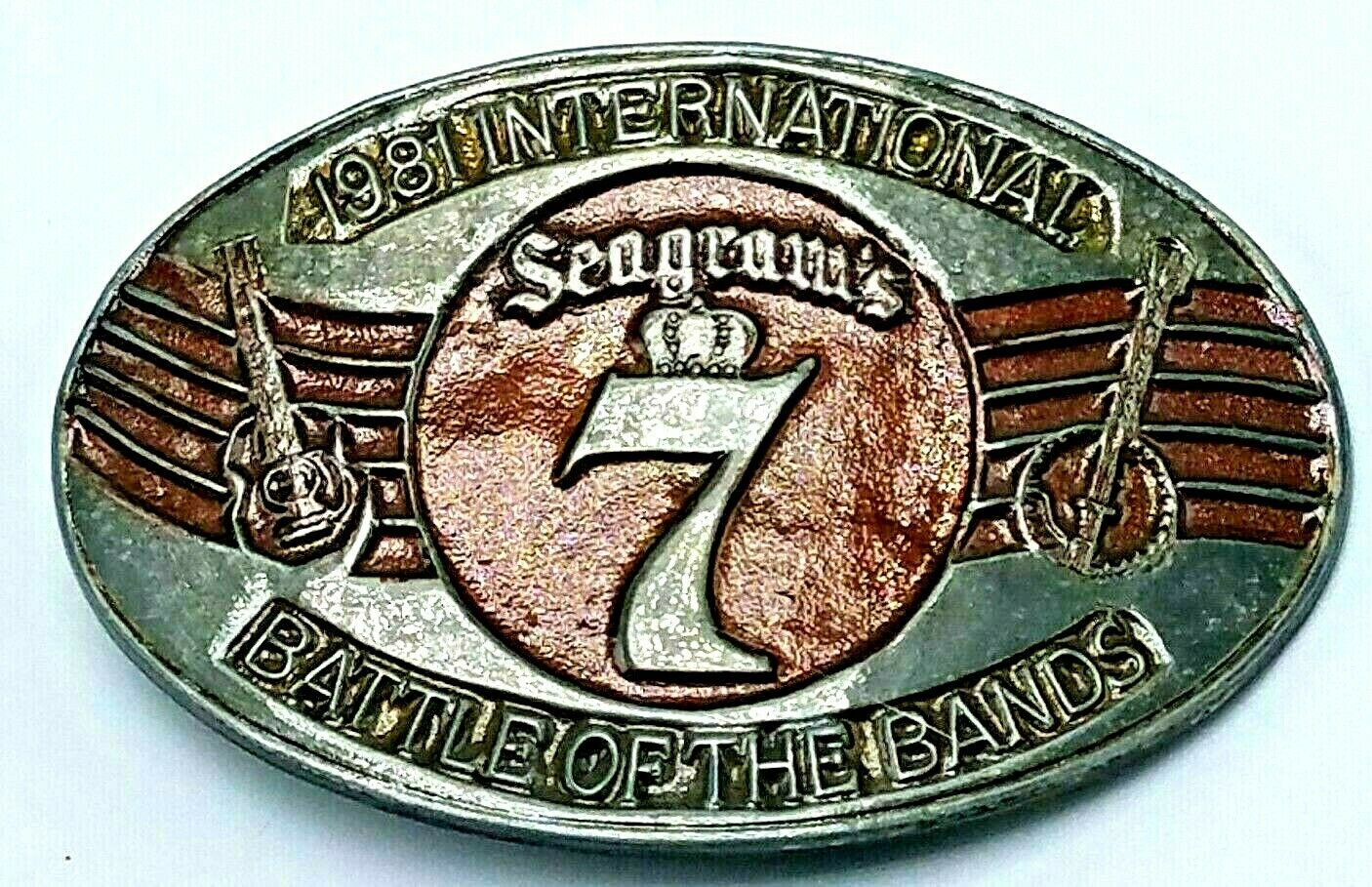 Vintage 1981 Seagams 7 Battle of the Bands Belt Buckle RARE