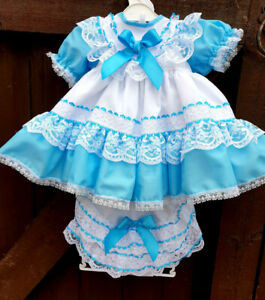 DREAM baby girls traditional netted dress and frilly knicker set or reborn dolls