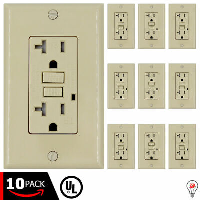 UL IVORY Tamper Resistant TR 24PACK 20 AMP GFCI Receptacle Outlet LED