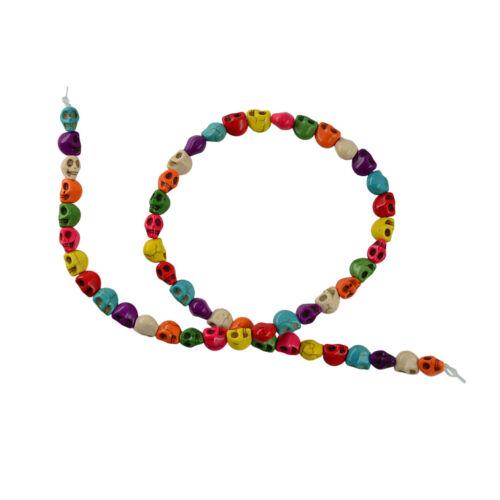 52 Stück mehrfarbigen Howlith Türkis geschnitzt Skull Spacer Perlen DIY