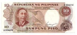 Filippine-Philippines-10-piso-1969-FDS-UNC-Pick-144-a-Lotto-3678