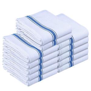 12 Pack Kitchen Towels Set Cotton White Dish Cloths Tea Towel Bar Washcloths