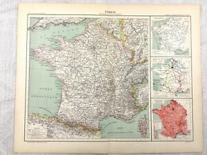1894-Antique-Map-of-France-Administrative-Region-Original-19th-Century-French