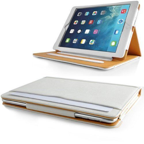 White and Tan Leather Stand Case Cover for Apple iPad 5 / iPad Air