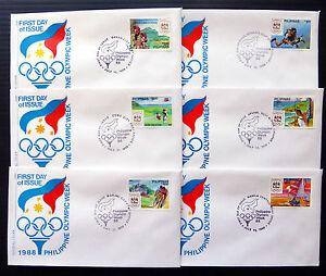 Filippine-1988-OLYMPIC-Sports-set-completi-di-6-UFFICIALE-FDC-039-s-bin1361