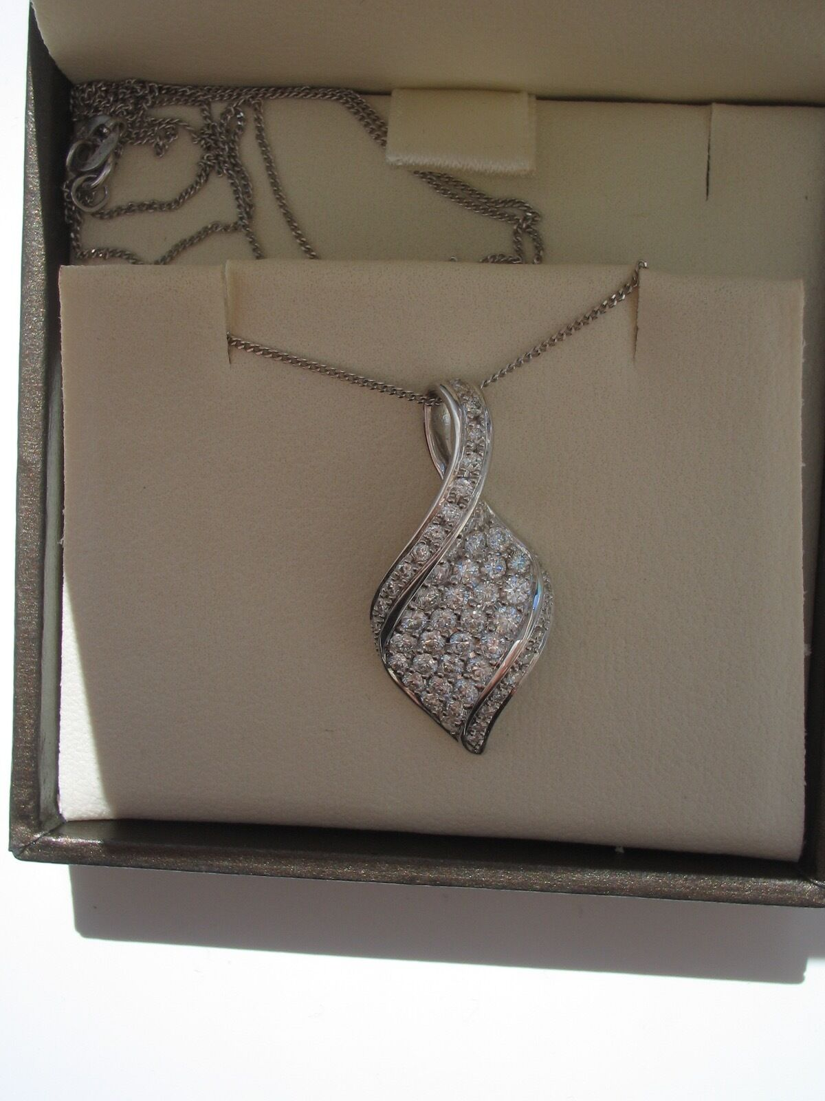 18 CARAT WHITE gold FANCY PAVE SET PENDANT AND CHAIN - 0.96CT TW