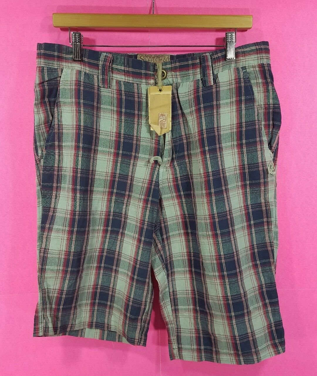 NEW Men's Scotch And Soda Co. Plaid Casual Shorts Size L Large bluee Red