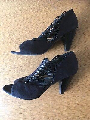 M & Co Damas Zapato de tacón alto en azul marino talla 5