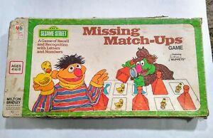 Vintage Missing Match-Ups Sesame Street Board Game 1976 Milton Bradley