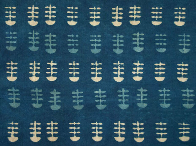 Hand Block Printed Tribal India Fabric  2½ Yards Natural Indigo Dye On Cotton