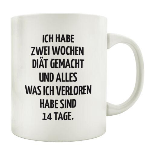 TASSE Kaffeebecher ICH HABE ZWEI WOCHEN DIÄT Geschenk Spruch Lustig Teetasse