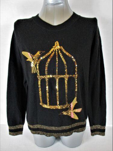 a5 Sweater H s Medium Alpaca Sort s L Blend Guld Metallic Sequins M Kvinder 7nTSxP7