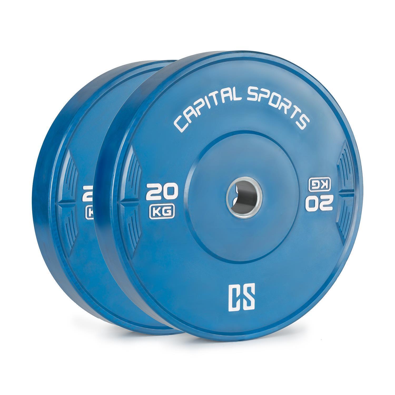 2x Bumper Plate Hantelscheibe Gewicht Platte Krafttraining Set 20kg 50,4mm gelb