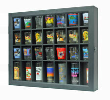 28 Shot Glass Display Case Stand Wall Curio Cabinet Shadow Box- BLACK, MH28