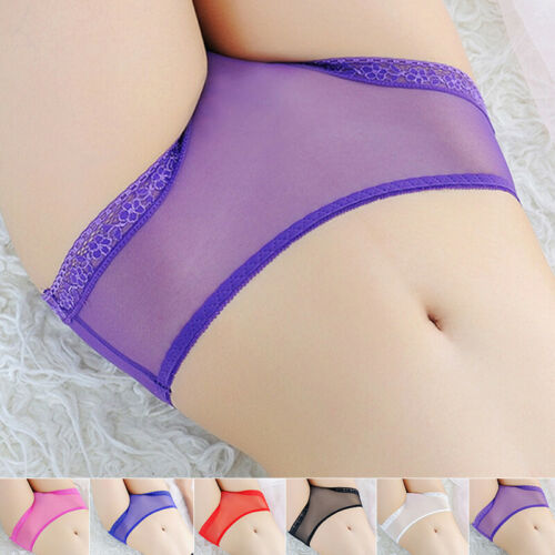 Ladies Briefs Transparent Sheer Screen Yarn Lace Translucent Panties Ultra Thin