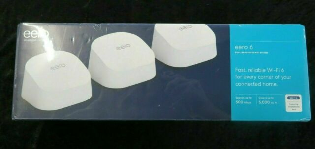 Eero 6 AX1800 Dual-Band Mesh Wi-Fi 6 System (3-pack) M110311 NEW sealed