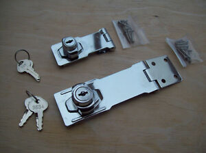 Chrome Security Locking Hasp and Staple Keyed Lock Door,Gate,Shed,Garage,Van