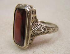 Vintage 14k Solid White Gold Faceted Garnet Filigree Ring size 6.5 JCRS Pat Pend